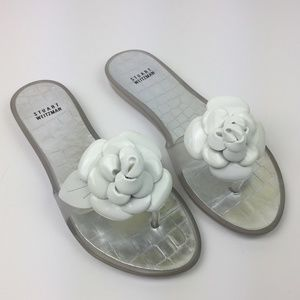 "Stuart Weitzman ""Bloomed"" Floral Thong Sandals"